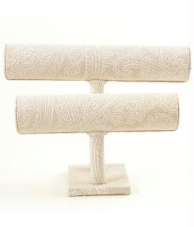 Porte bijoux pour bracelets tissu et galons Beige