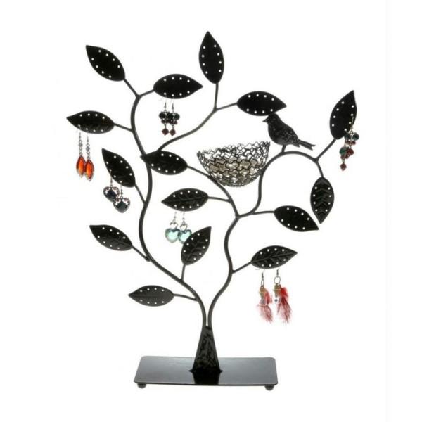 Porte bijoux arbre à boucle d'oreille piou piou (60 paires) Noir - Photo n°1