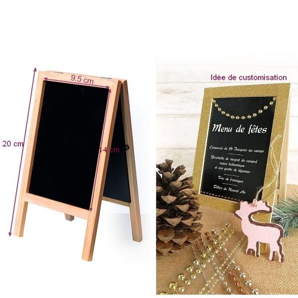 Chevalet de table en bois avec tableau noir ardoise double face, haut. 20.5  cm