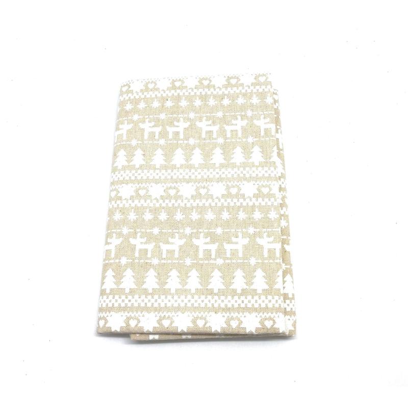 coupon tissus motif neige sapin cerf blanc sur fond. Black Bedroom Furniture Sets. Home Design Ideas