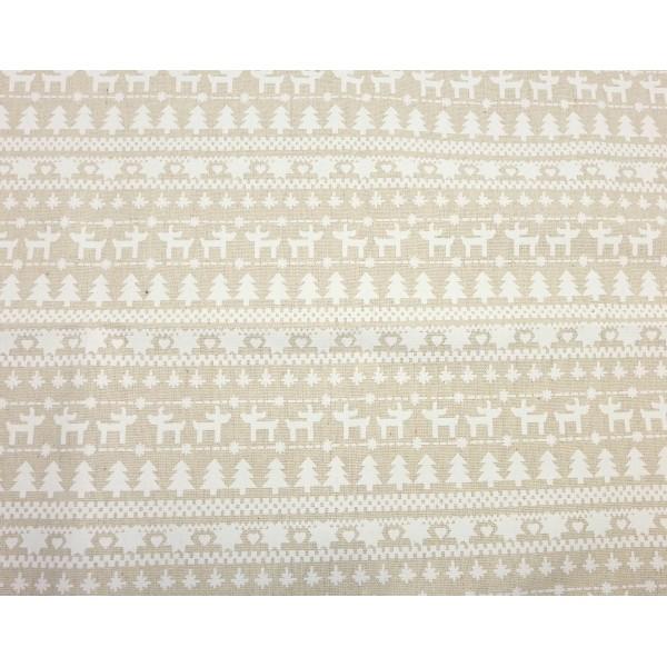 78fc86c2cd Coupon Tissus Motif Neige, Sapin, Cerf Blanc Sur Fond Beige Écru 70cm X 90cm