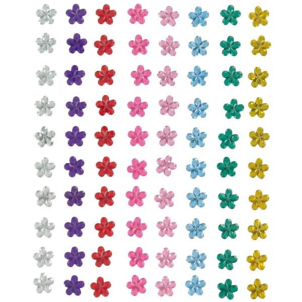 Strass à coller fleur multicolore 0,5 cm x 80 - Photo n°1