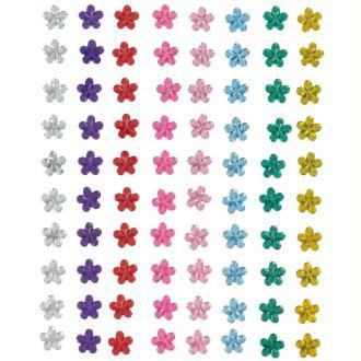 Strass à coller fleur multicolore 0,5 cm x 80