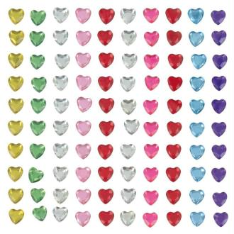 Strass à coller coeur multicolore 0,5 cm x 100