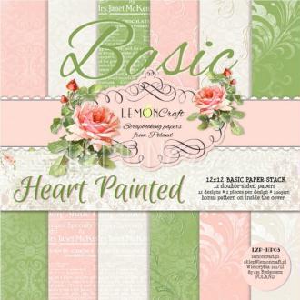12 papiers fantaisis 30 x 30 cm Lemon Craft BASIC HEART PAINTED