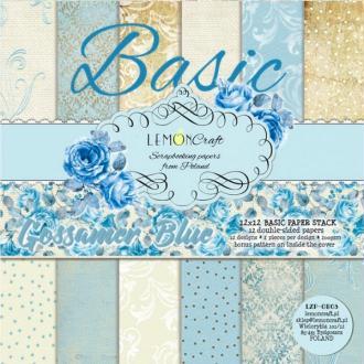 12 papiers fantaisis 30 x 30 cm Lemon Craft BASIC GOSSAMER BLUE