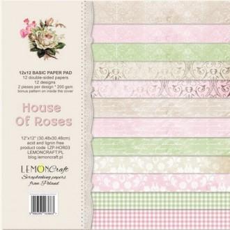 12 papiers fantaisis 30 x 30 cm Lemon Craft BASIC HOUSE OF ROSES