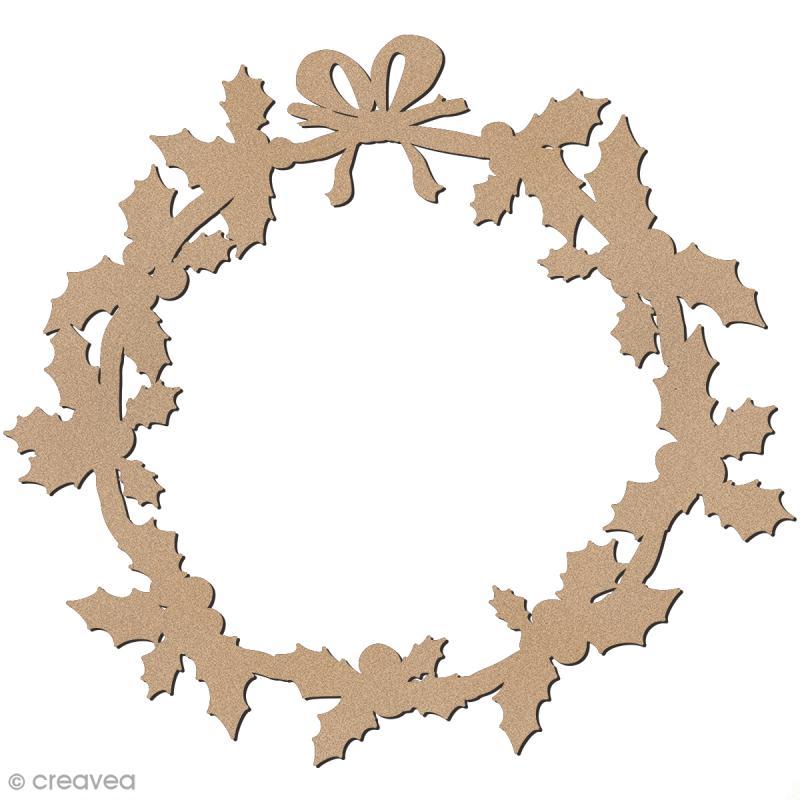 Forme en bois à décorer - Couronne de houx - 34 cm - Photo n°1