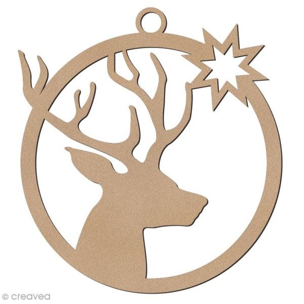 Forme en bois à suspendre - boule de Noël Tête de cerf - 7 cm - Photo n°1