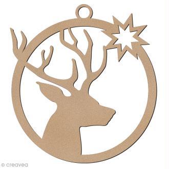 Forme en bois à suspendre - boule de Noël Tête de cerf - 7 cm