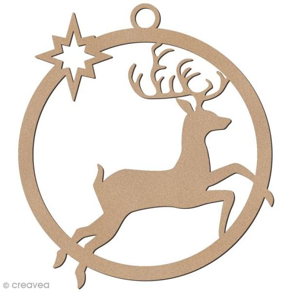 Forme en bois à suspendre - boule de Noël Cerf bondissant - 7 cm - Photo n°1