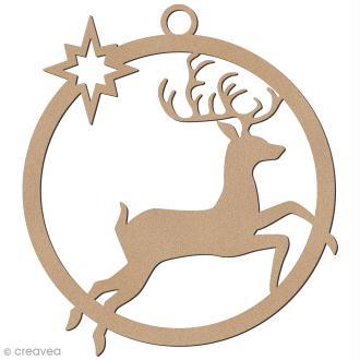 Forme en bois à suspendre - boule de Noël Cerf bondissant - 7 cm