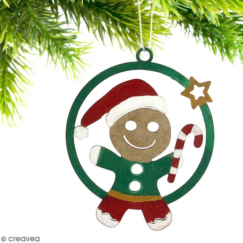 Forme en bois à suspendre - boule de Noël Bonhomme de pain d'épices Garçon - 7 cm - Photo n°2