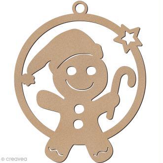 Forme en bois à suspendre - boule de Noël Bonhomme de pain d'épices Garçon - 7 cm