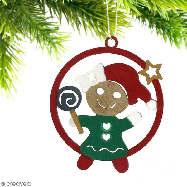 Forme en bois à suspendre - boule de Noël Bonhomme de pain d'épices Fille - 7 cm - Photo n°2
