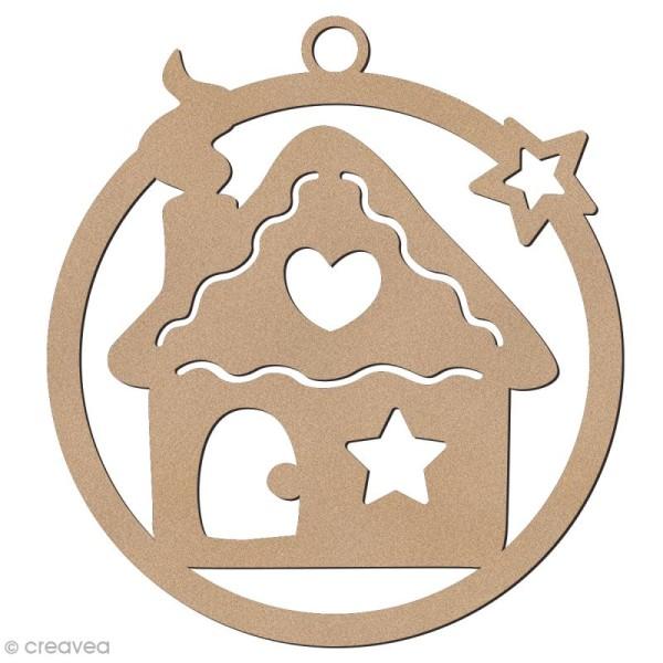 Forme en bois à suspendre - boule de Noël Maison de pain d'épices - 7 cm - Photo n°1