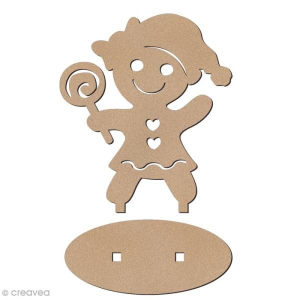 Déco 3D sur socle à monter - Bonhomme de pain d'épices Fille - 6,5 cm - Photo n°2