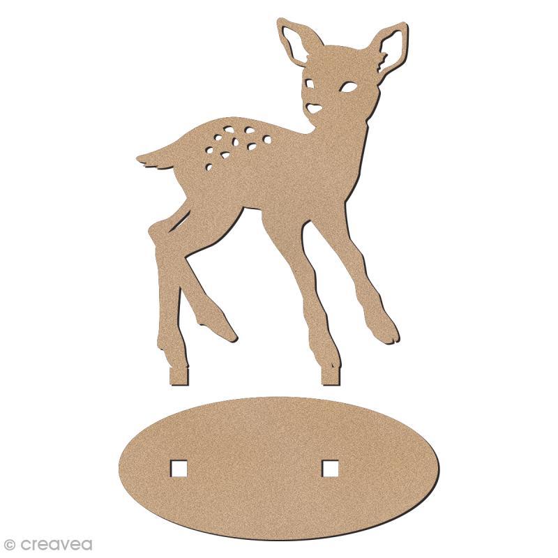 Déco 3D sur socle à monter - Faon - 6,5 cm - Photo n°2