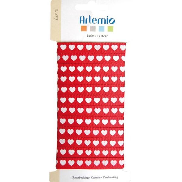 Ruban à coeurs Love x 5 m - rouge / blanc - Photo n°1