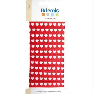 Ruban à coeurs Love x 5 m - rouge / blanc