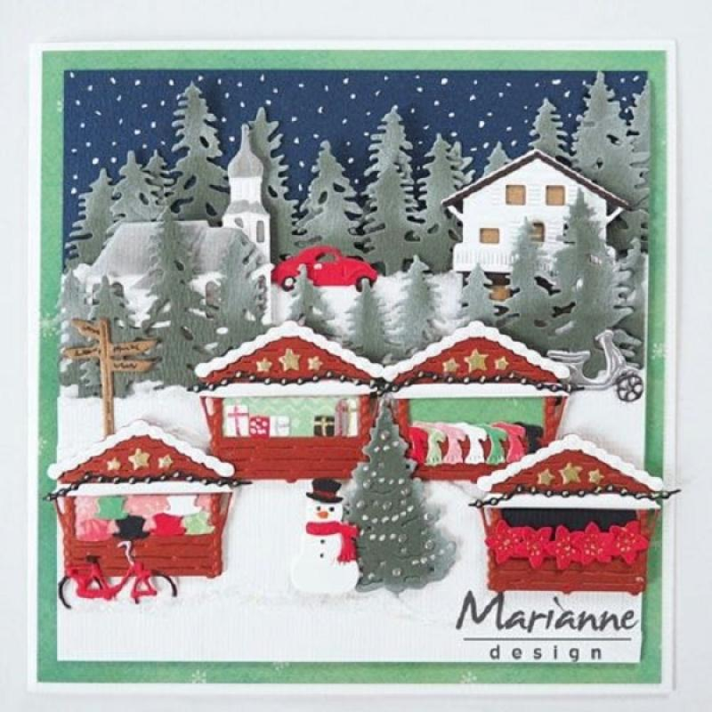 Die collectables marianne design maison de noel 5 pcs for Architecture maison de maitre