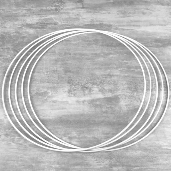 Lot de 5 Cercles métalliques blanc 40cm de diamètre pour abat-jour, Anneaux epoxy Attrape rêves - Photo n°1