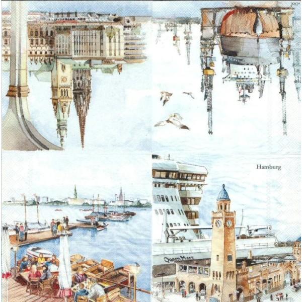 4 Serviettes en papier Hambourg Allemagne Format Lunch - Photo n°2