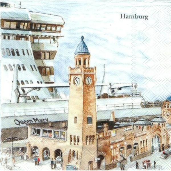4 Serviettes en papier Hambourg Allemagne Format Lunch - Photo n°1
