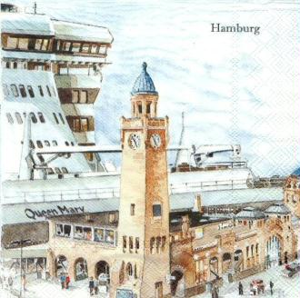 4 Serviettes en papier Hambourg Allemagne Format Lunch