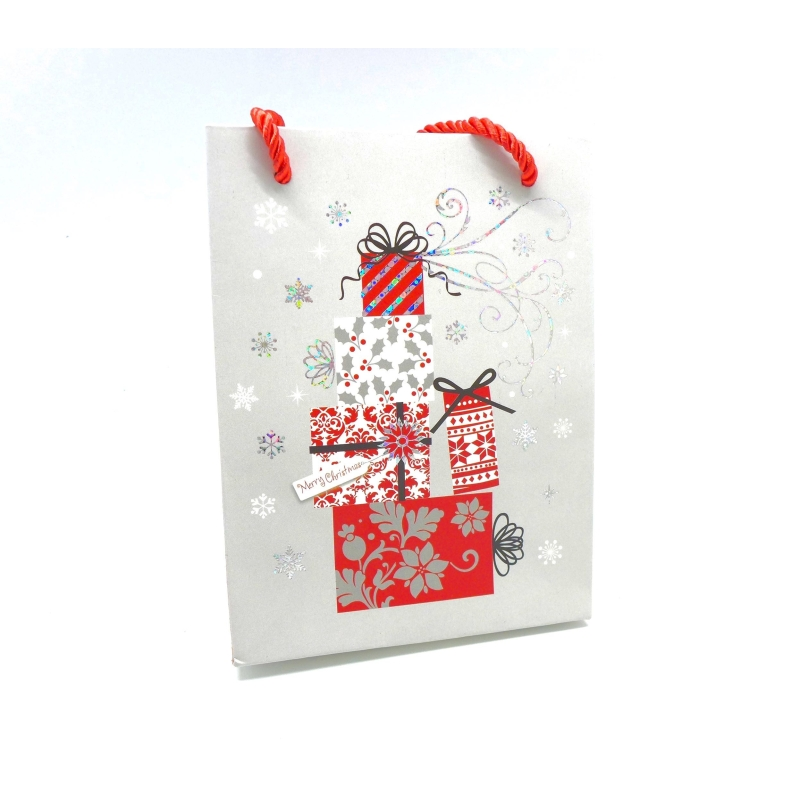 pochette cadeaux papier cartonn glac motif paquet cadeau n el gris argent rouge et blanc. Black Bedroom Furniture Sets. Home Design Ideas