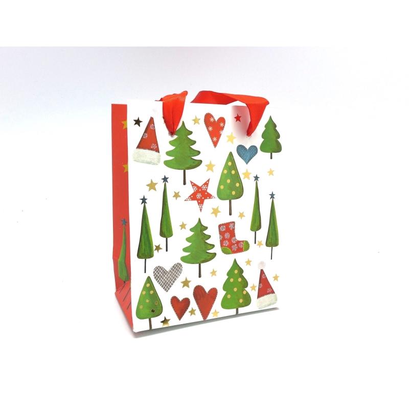 pochette cadeaux papier cartonn glac motif no l sapin bonnet botte sur fond blanc sac en. Black Bedroom Furniture Sets. Home Design Ideas