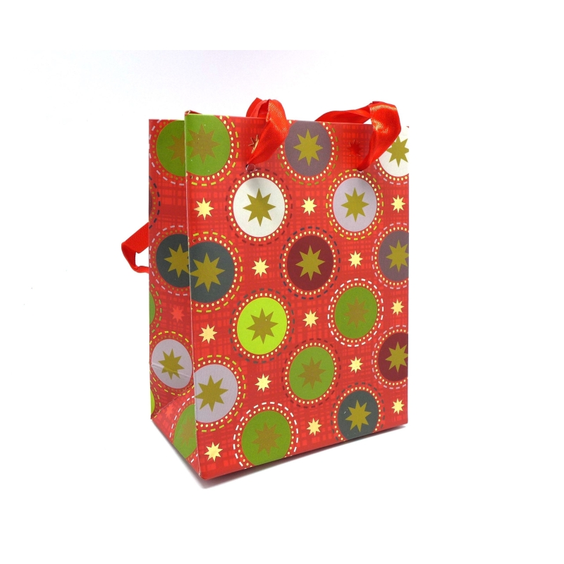 pochette cadeaux papier cartonn glac motif no l boule et toile dor sur fond rouge sac en. Black Bedroom Furniture Sets. Home Design Ideas