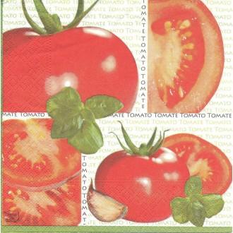 4 Serviettes en papier Cuisine Tomate Basilic Pomodoro Format Lunch