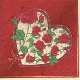 4 Serviettes en papier Cœur de Roses Format Lunch