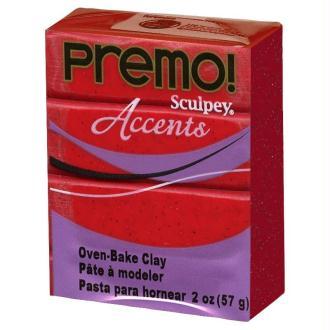 Pâte Sculpey Premo Accent Rouge glitter - 57g