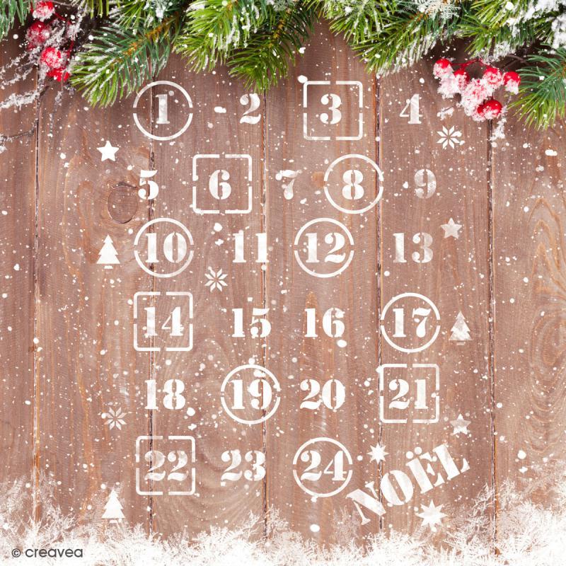 Pochoir multiusage A5 - Chiffres calendrier de l'avent - Photo n°2