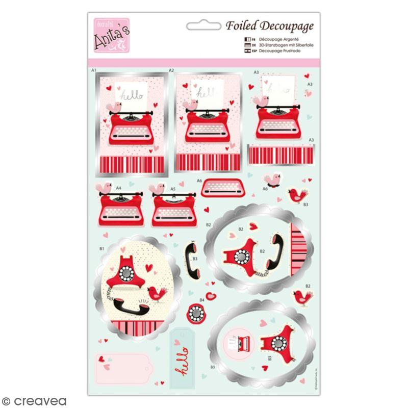 d coupage m tallis machine crire 21 6 x 35 cm kit sans album creavea. Black Bedroom Furniture Sets. Home Design Ideas