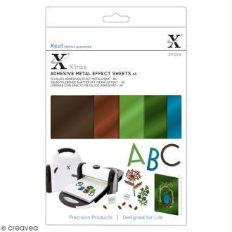Assortiment de feuilles adhésives papier - Effet métallique tons naturels - A5 - 20 pcs
