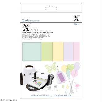 Assortiment de feuilles adhésives papier - Vélin couleur - A5 - 15 pcs
