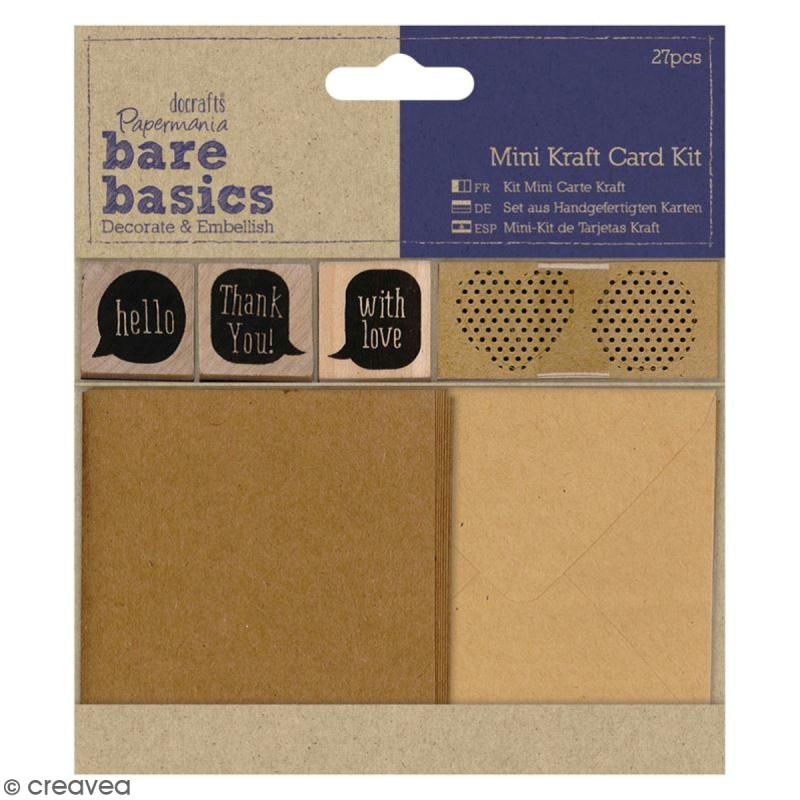 kit mini cartes kraft bare basics 27 pcs papier cadeau creavea. Black Bedroom Furniture Sets. Home Design Ideas