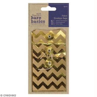 Sachets avec ficelle métallisés Bare Basics - Chevrons - 4 pcs