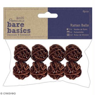 Boules en rotin marron Bare Basics - 3 cm - 8 pcs