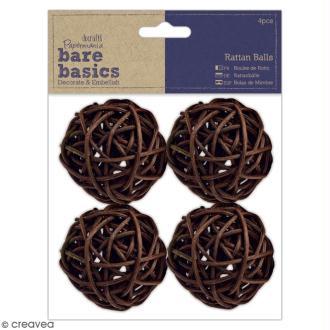 Boules en rotin marron Bare Basics - 5 cm - 4 pcs