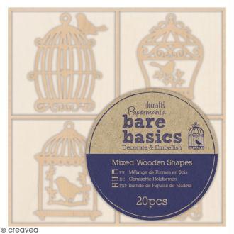 Formes en bois Bare Basics - Cages à Oiseaux - 4,5 cm - 20 pcs