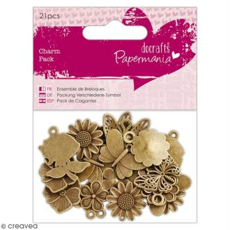 Assortiment de breloques - Fleurs & Papillons - 2 cm - 21 pcs