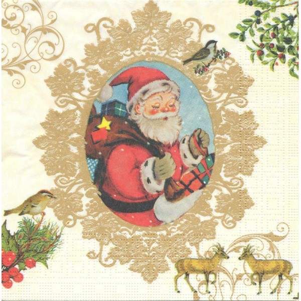 foto de 4 Serviettes en papier Père Noël Vintage Format Lunch - Serviette ...