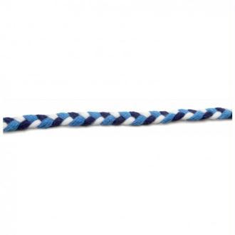 Cordon coton tressé 06 mm bleu et blanc - 1 mètre