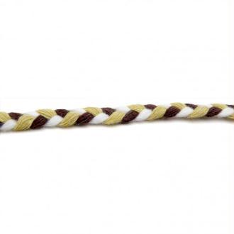 Cordon coton tressé 06mm marron-beige-blanc - 1 mètre