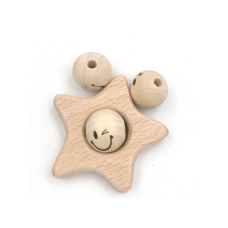 perles en bois naturel sourire visage 20mm perles bois. Black Bedroom Furniture Sets. Home Design Ideas