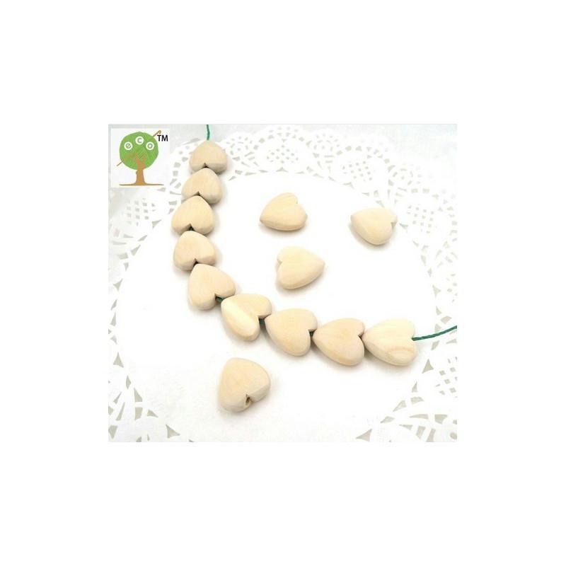 perle coeur en bois naturel dentition x10 perles bois. Black Bedroom Furniture Sets. Home Design Ideas